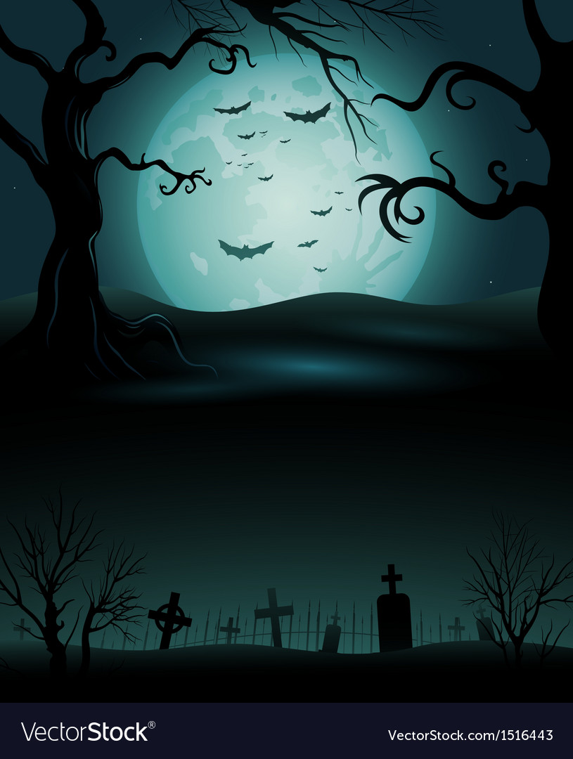 Creepy tree halloween background with full moon vector | Price: 1 Credit (USD $1)