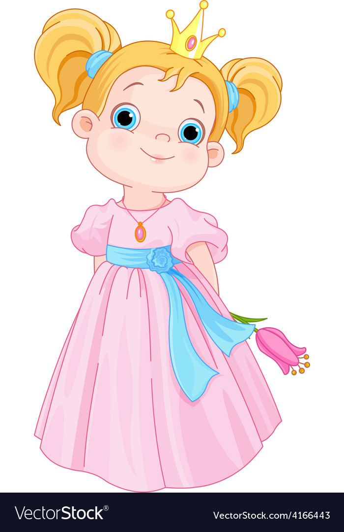 Cute little princess holds flower vector | Price: 3 Credit (USD $3)