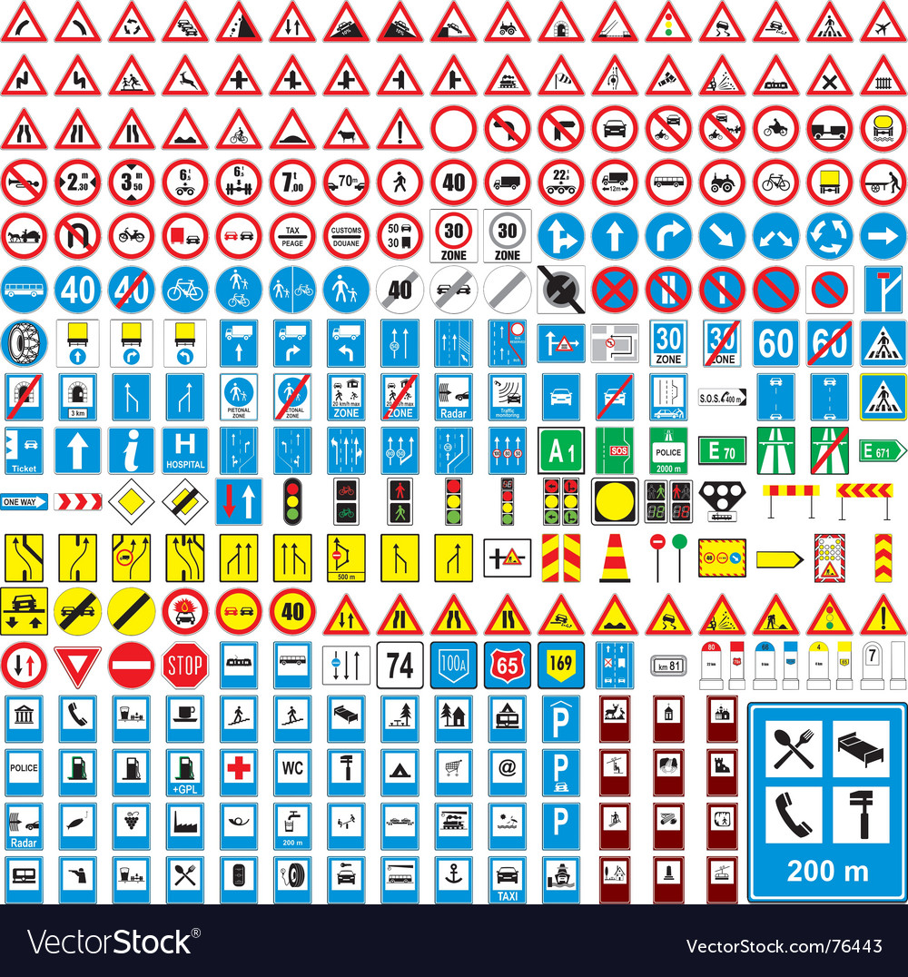 European road signs vector | Price: 1 Credit (USD $1)