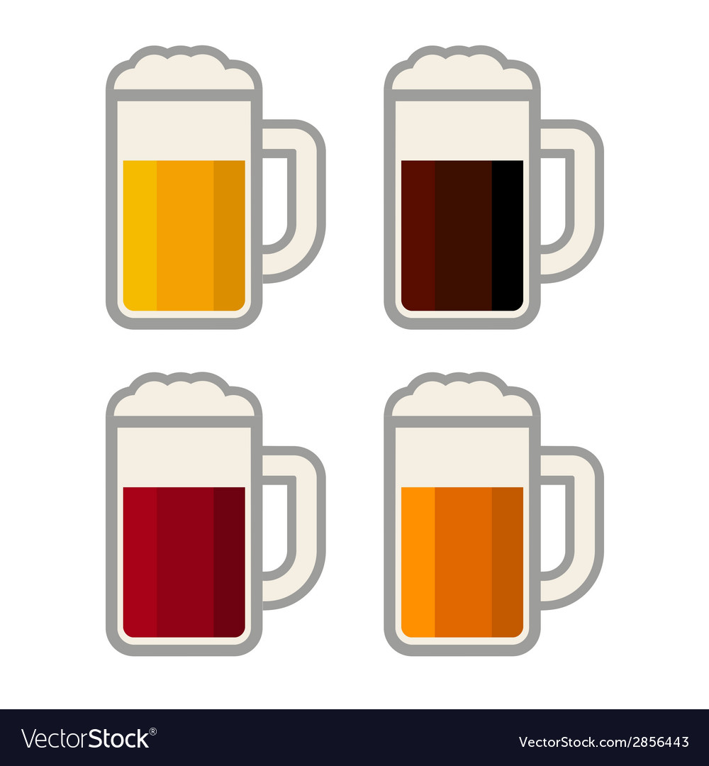 Four glasses with different color beers on white vector | Price: 1 Credit (USD $1)
