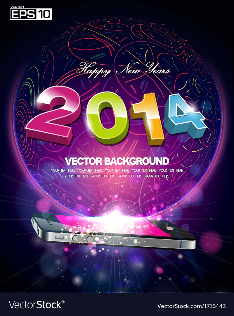 Happy new year 2014 smartphone design vector | Price: 1 Credit (USD $1)