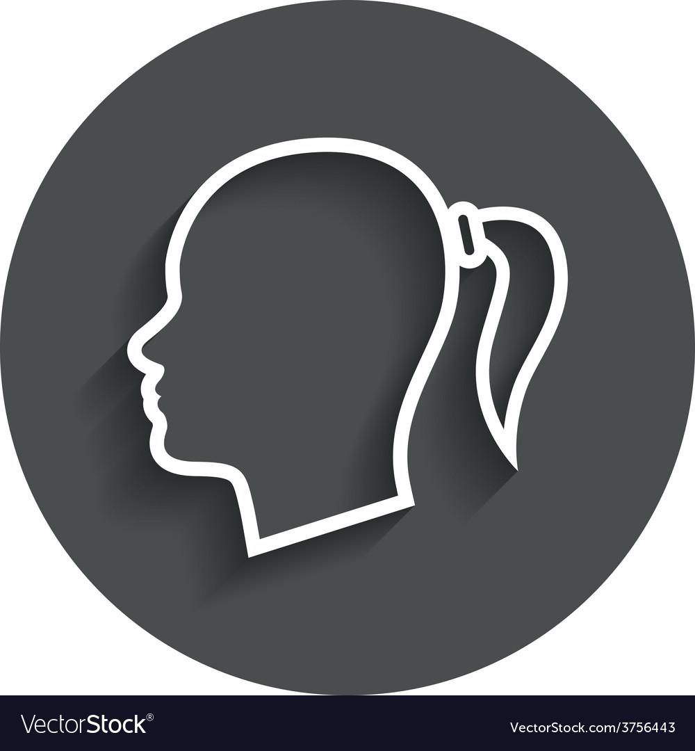 Head sign icon female woman human head vector | Price: 1 Credit (USD $1)
