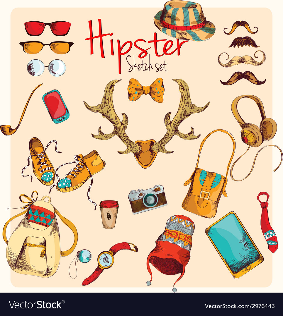 Hipster sketch set vector | Price: 1 Credit (USD $1)