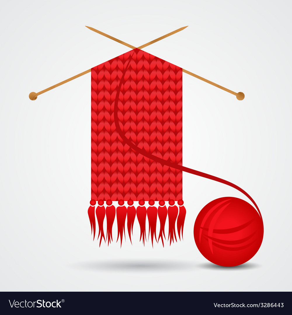 Knitted red scarf with a yarn ball vector | Price: 1 Credit (USD $1)