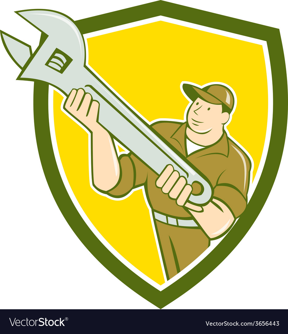 Mechanic presenting spanner wrench shield cartoon vector | Price: 1 Credit (USD $1)
