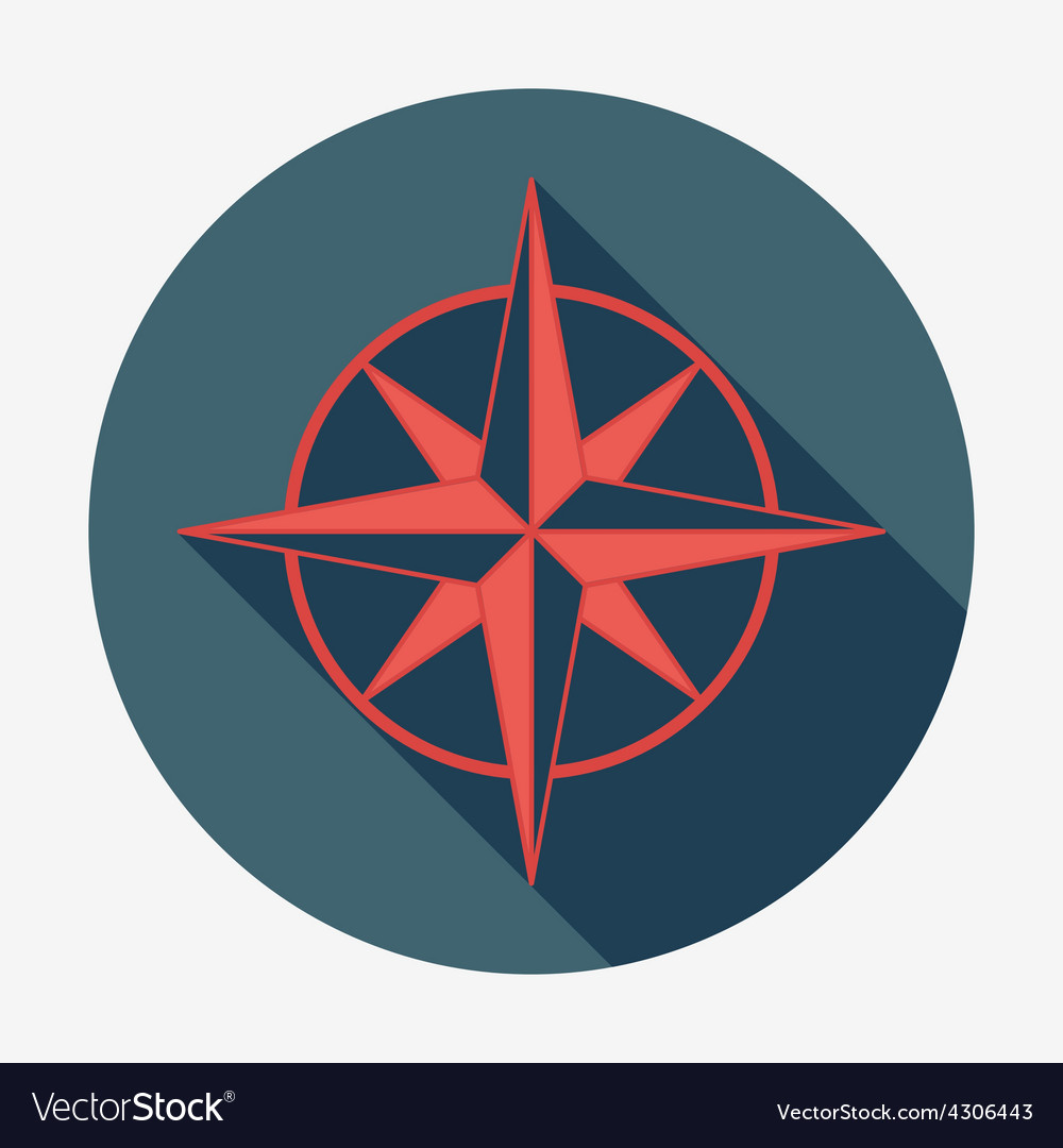 Pirate or sea icon wind rose flat design vector | Price: 1 Credit (USD $1)