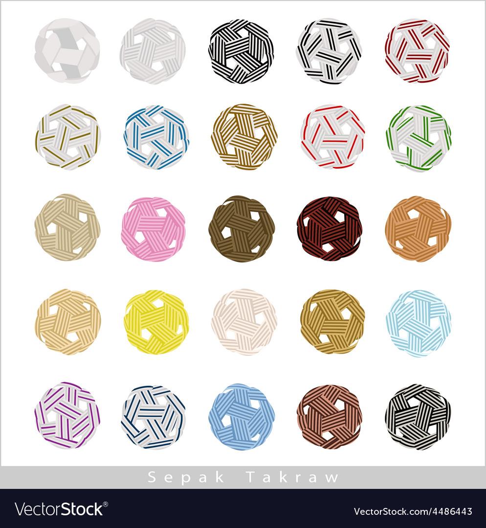 Set of sepak takraw ball on white background vector | Price: 1 Credit (USD $1)