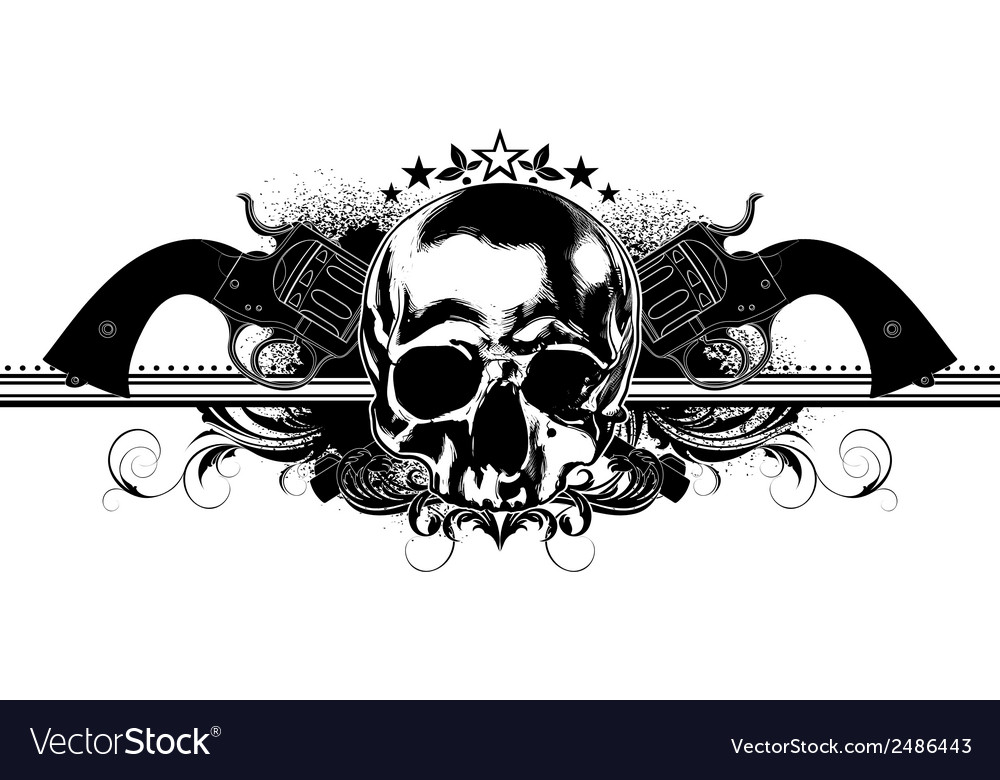 Skull human and guns vector | Price: 1 Credit (USD $1)