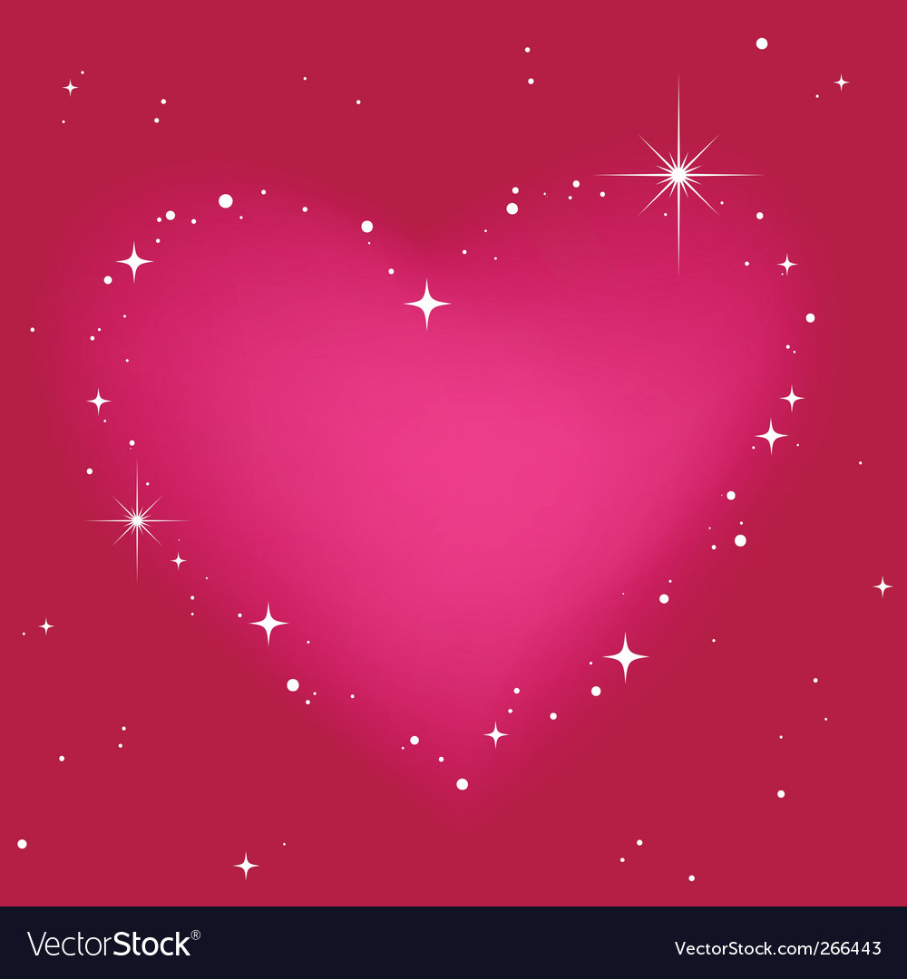 Star heart in pink sky vector | Price: 1 Credit (USD $1)