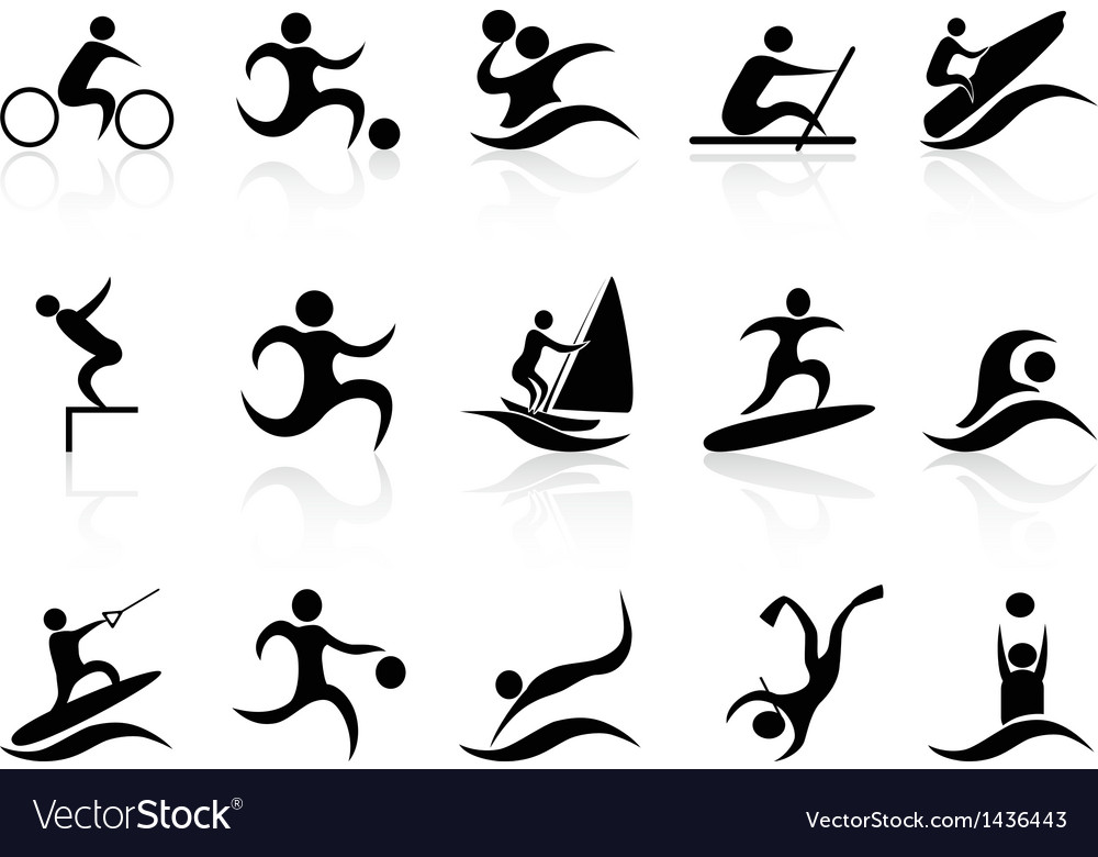 Summer sport icons set vector | Price: 1 Credit (USD $1)
