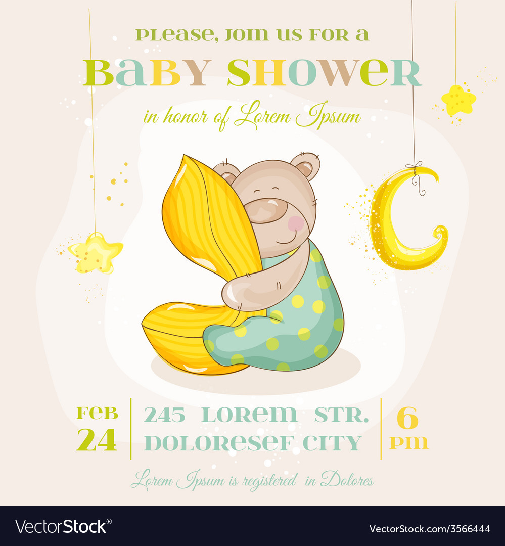 Baby shower or arrival card - with baby bear vector | Price: 1 Credit (USD $1)