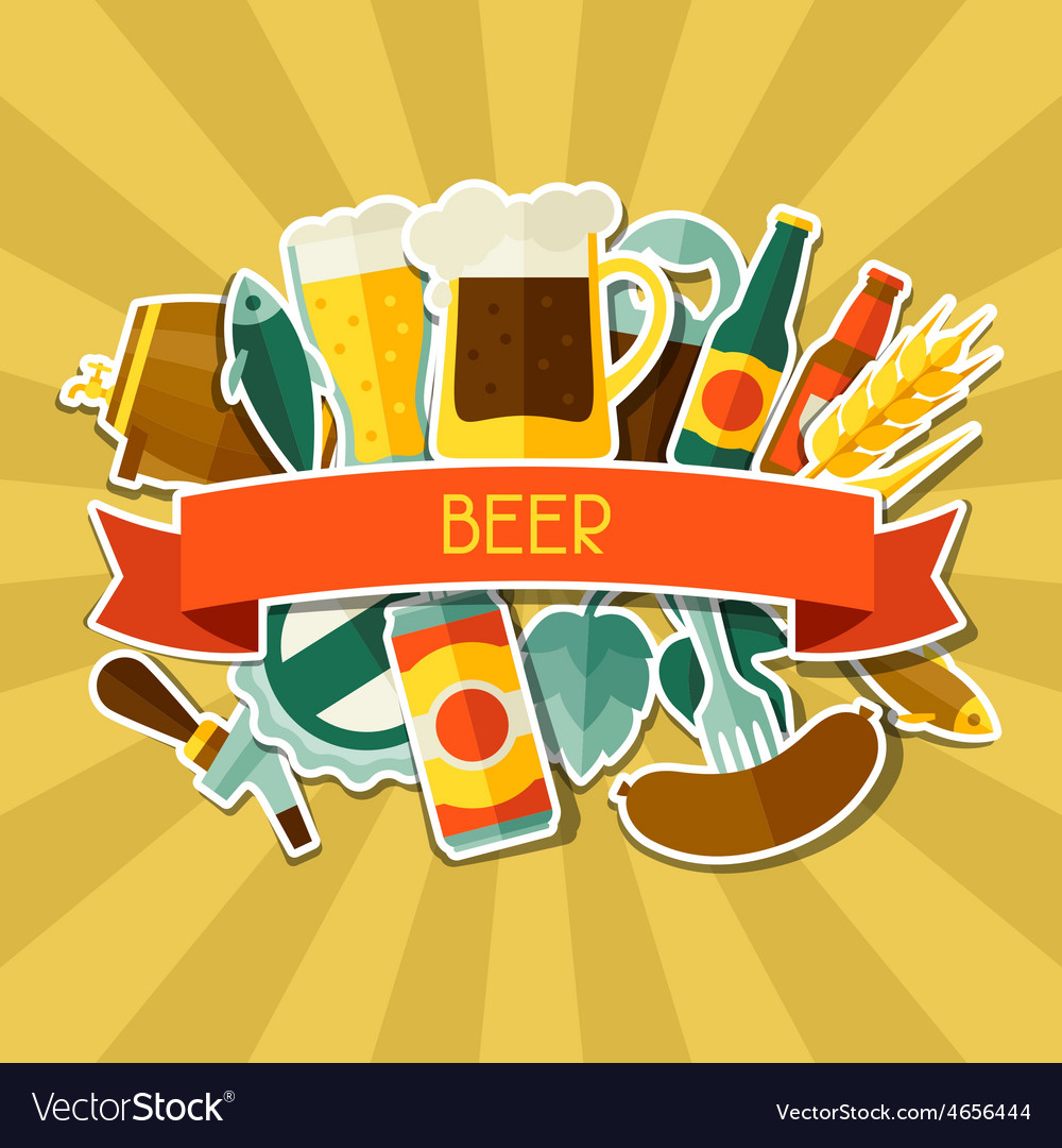 Background design with beer sticker icons and vector | Price: 1 Credit (USD $1)