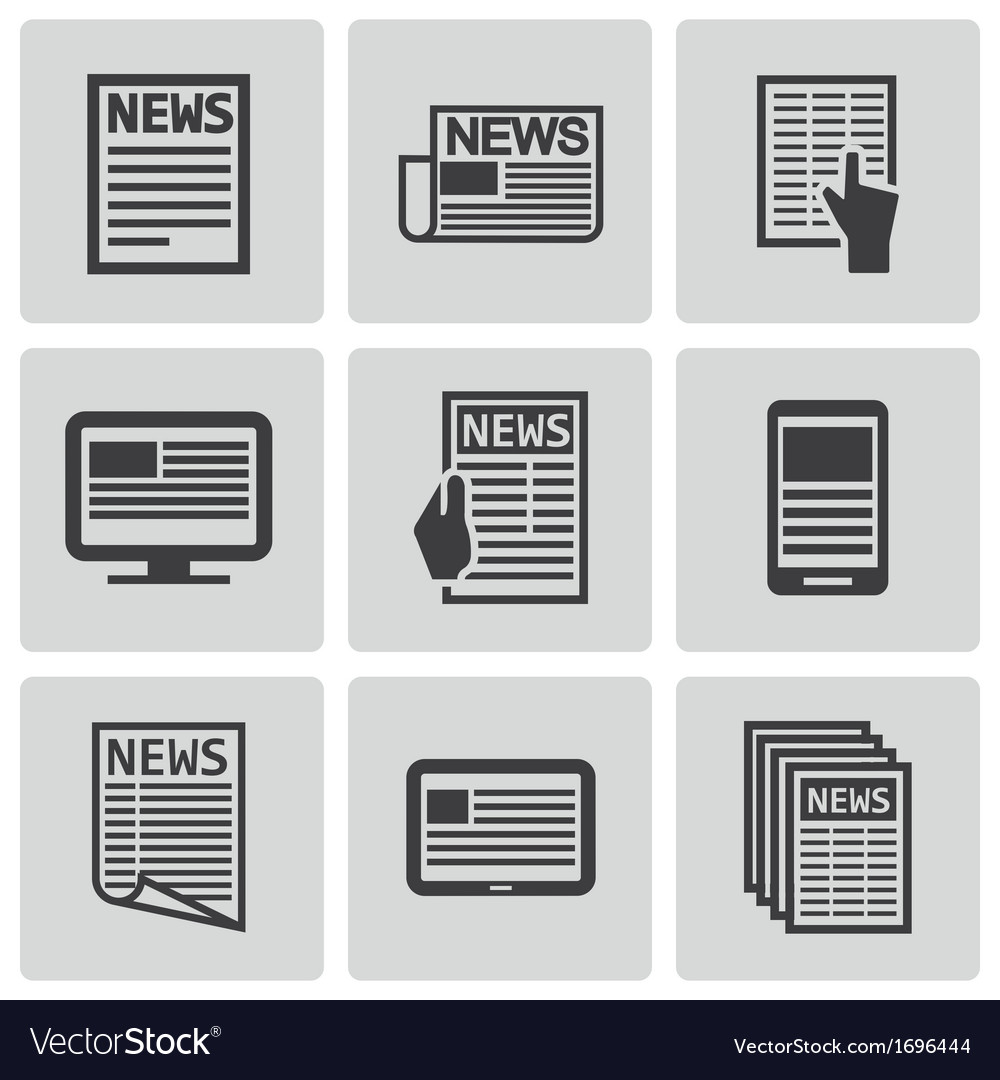 Black newspaper icons set vector | Price: 1 Credit (USD $1)