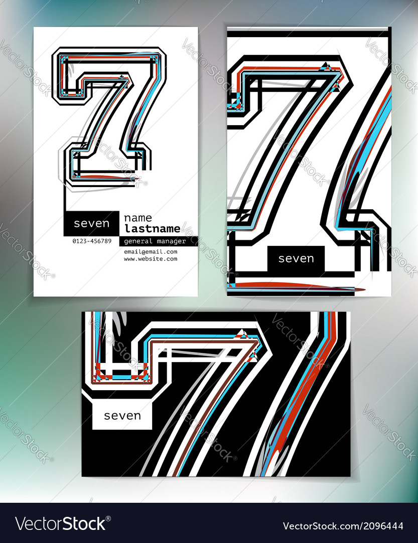 Business card design with number 7 vector | Price: 1 Credit (USD $1)
