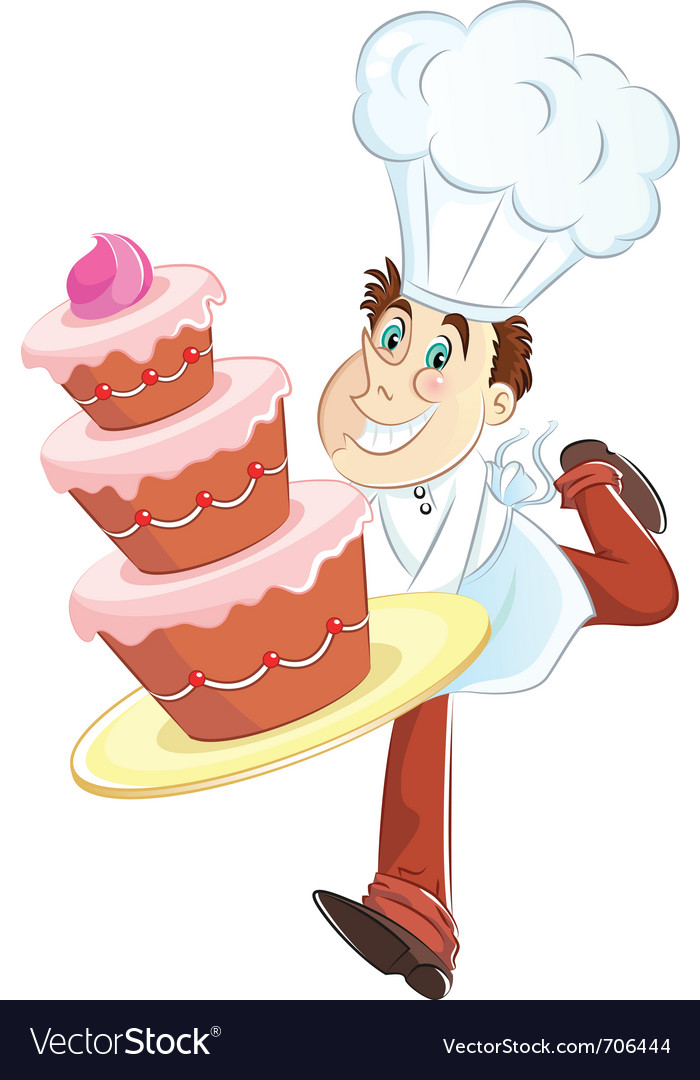 Chef with a cake vector | Price: 3 Credit (USD $3)
