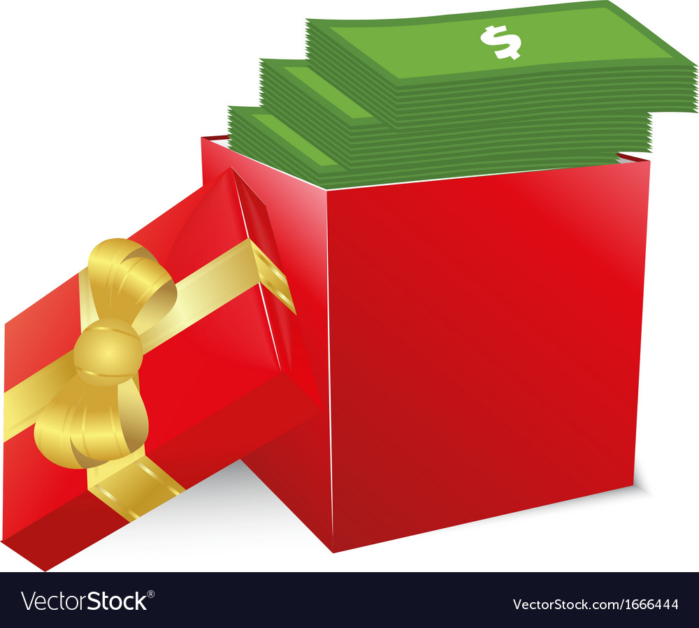 Concept of bonus red box with gold bow full of vector | Price: 1 Credit (USD $1)
