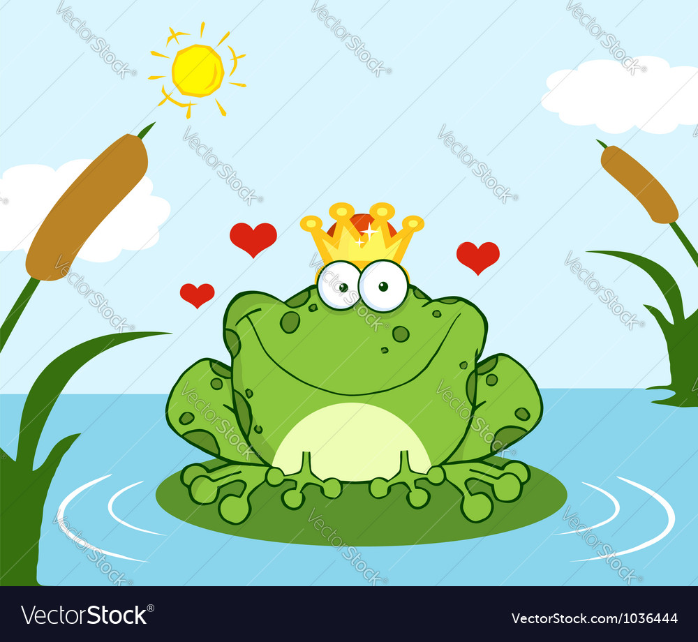 Crowned frog prince on a leaf in lake vector | Price: 1 Credit (USD $1)