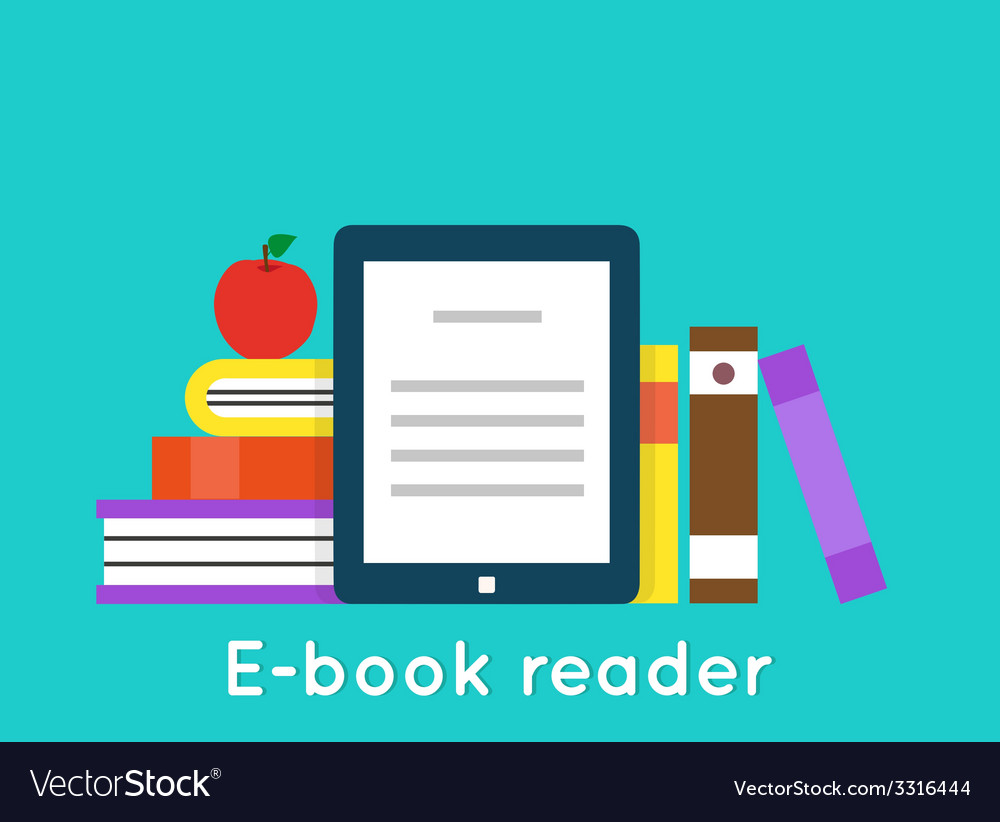 E-book reader and modern education by technology vector | Price: 1 Credit (USD $1)