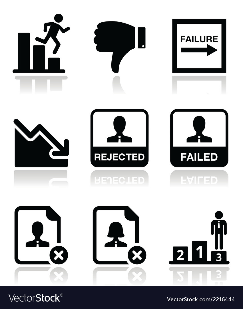 Failure rejected man icons set vector | Price: 1 Credit (USD $1)