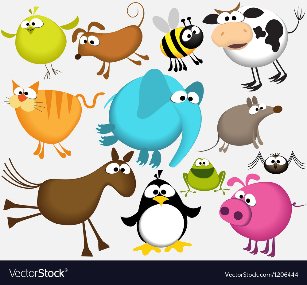Funny cartoon animals vector | Price: 3 Credit (USD $3)