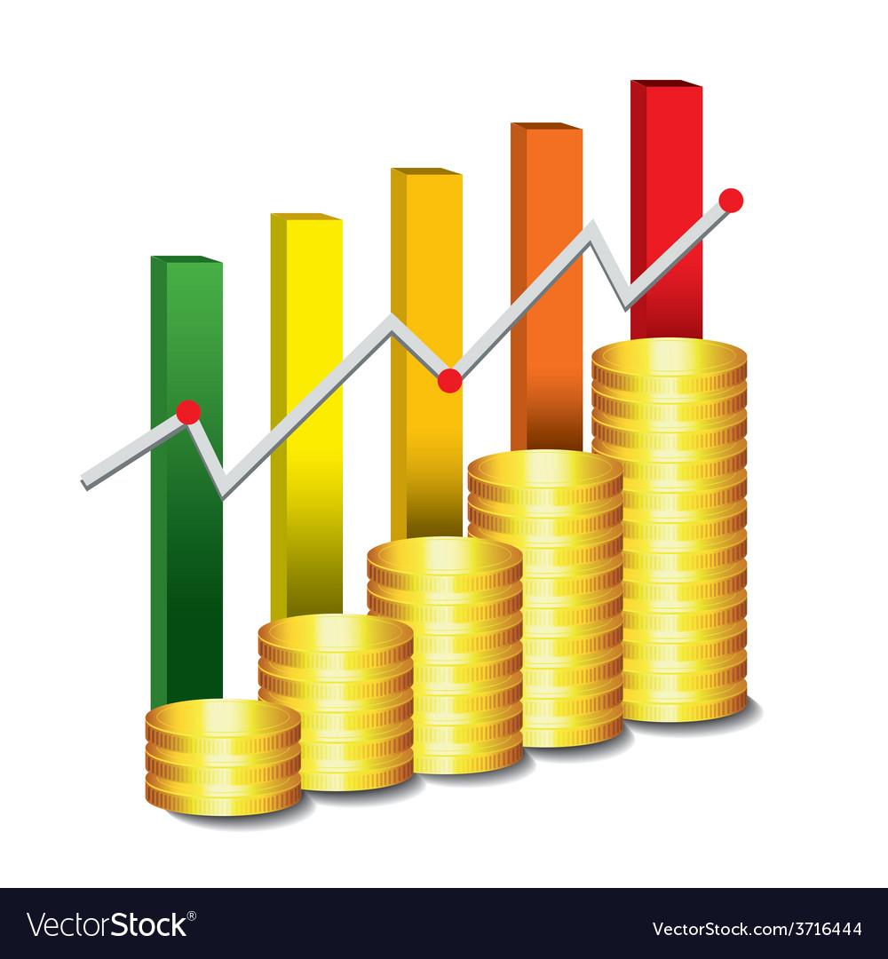 Golden coin graph money vector | Price: 1 Credit (USD $1)
