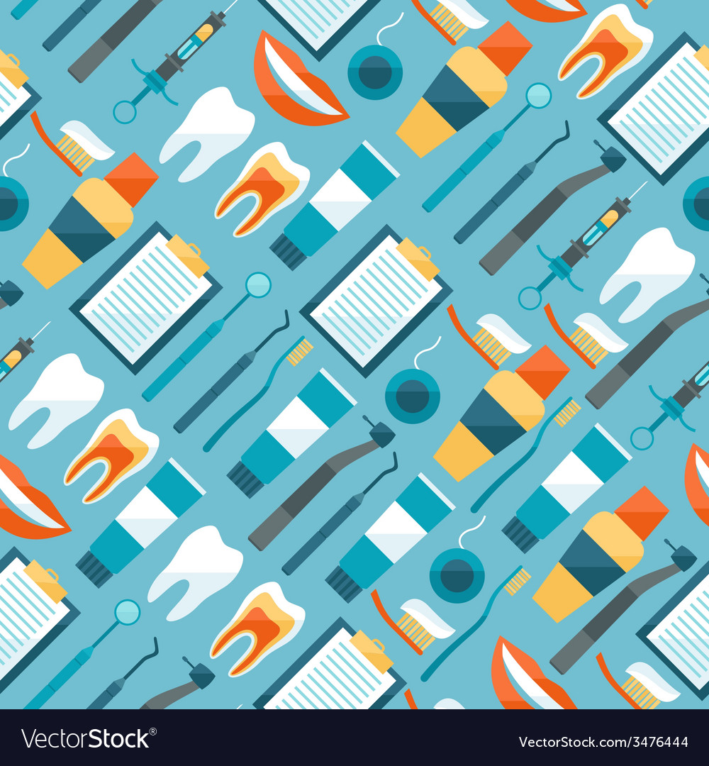 Medical seamless pattern with dental equipment vector | Price: 1 Credit (USD $1)