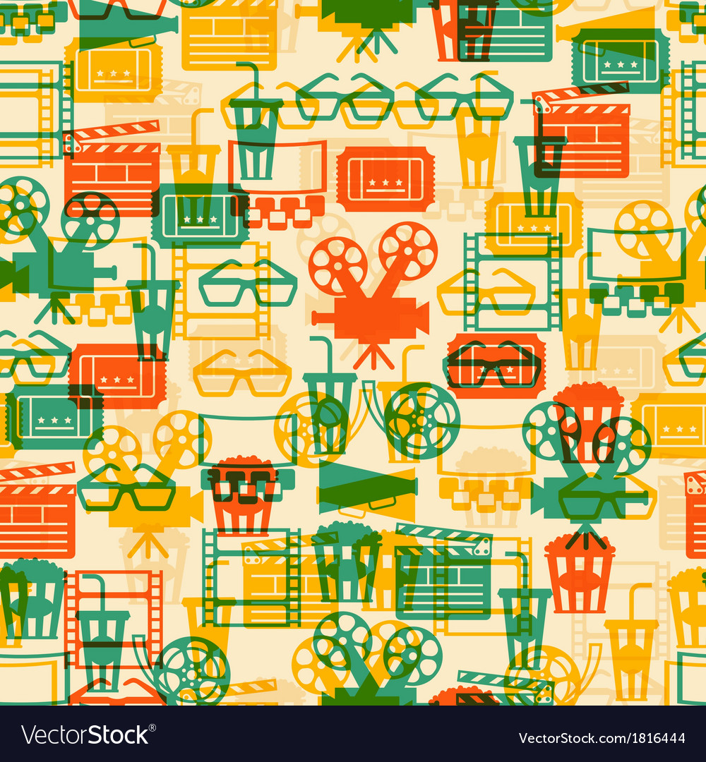 Seamless pattern of movie elements and cinema vector | Price: 1 Credit (USD $1)