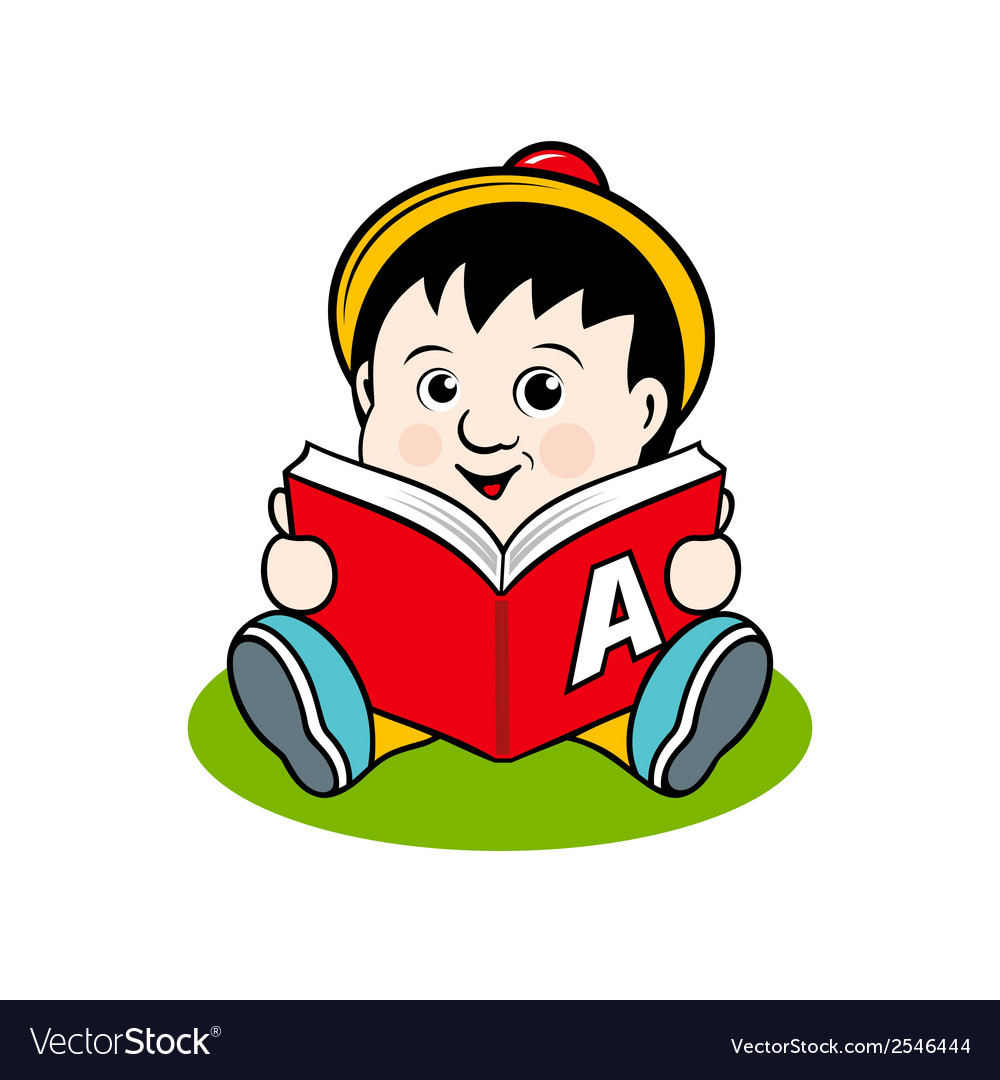 Small child with a book vector | Price: 1 Credit (USD $1)