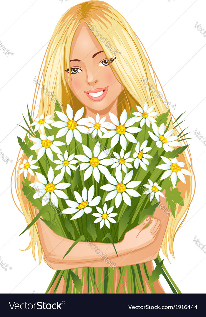 Young beautiful blond woman with bunch of flowers vector | Price: 3 Credit (USD $3)