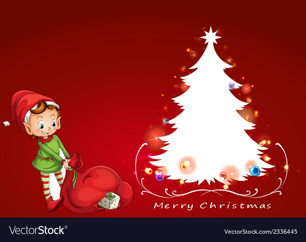 An elf beside the christmas tree vector | Price: 1 Credit (USD $1)