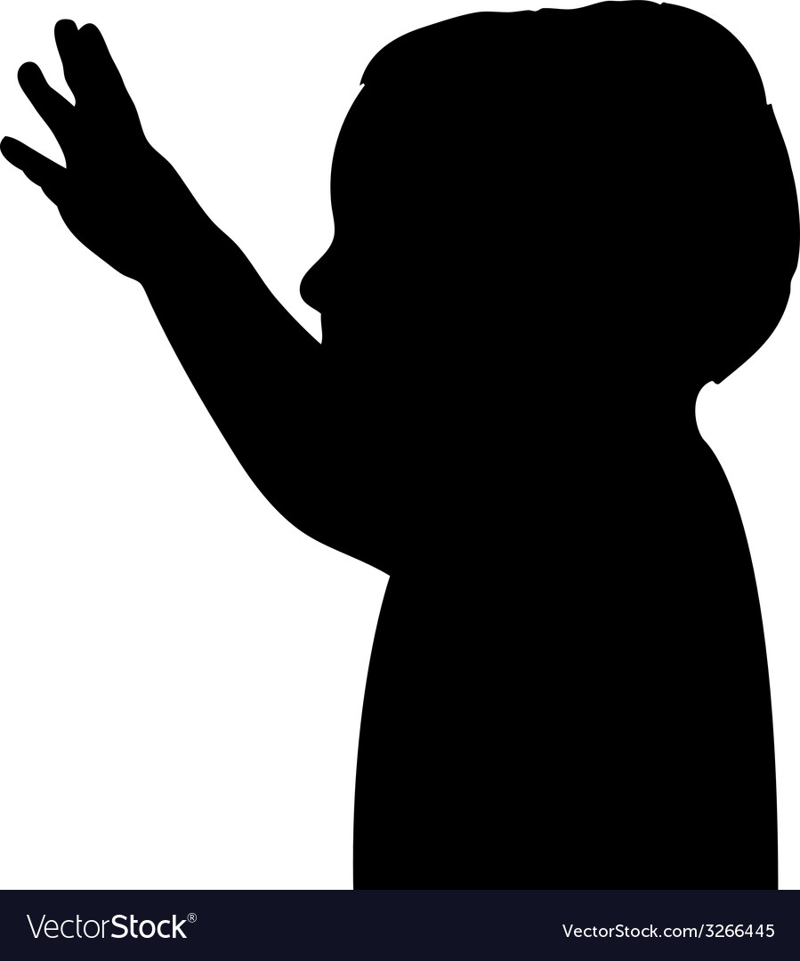 Boy greeting silhouette vector | Price: 1 Credit (USD $1)