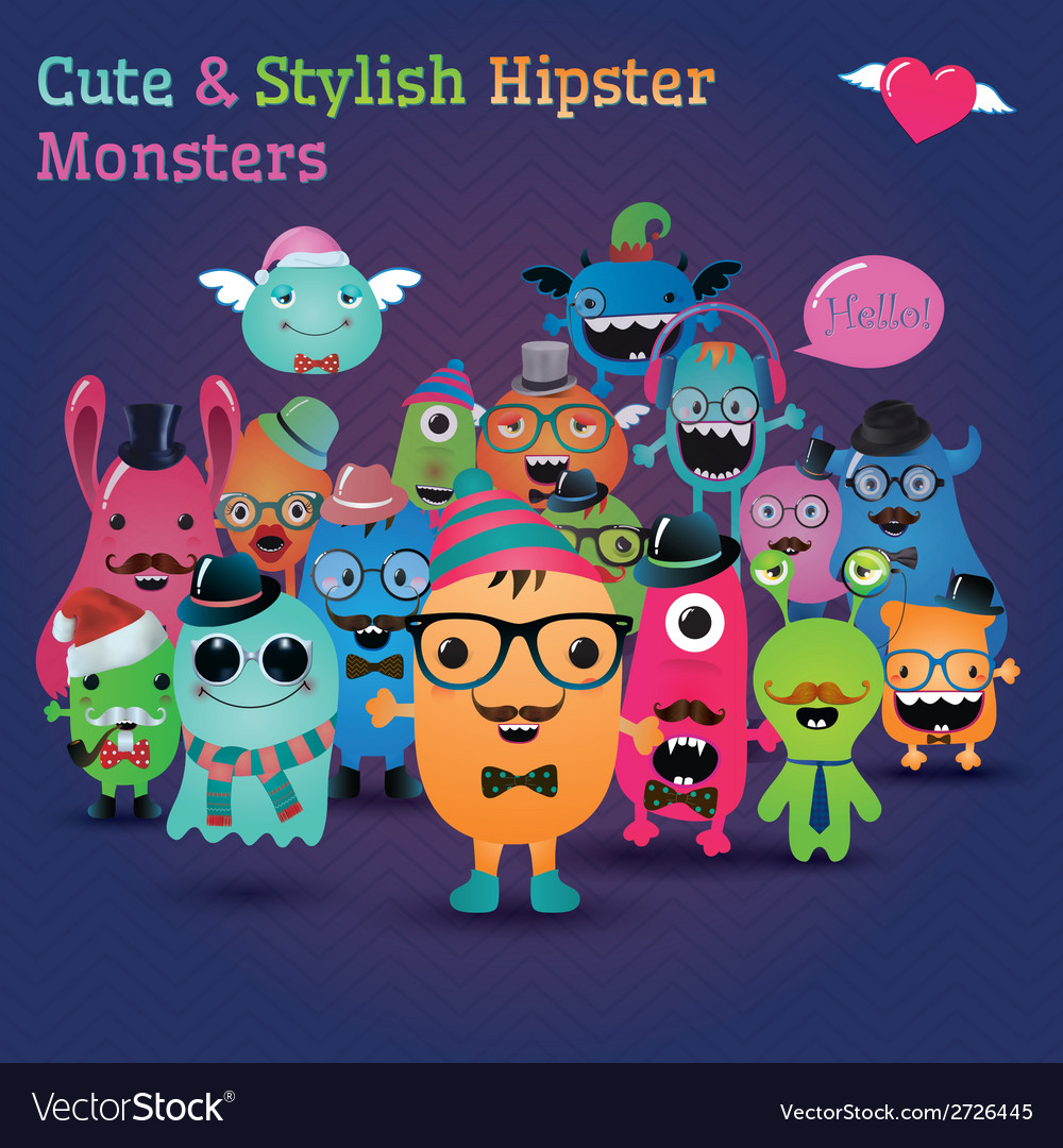 Cute and stylish hipster monsters vector