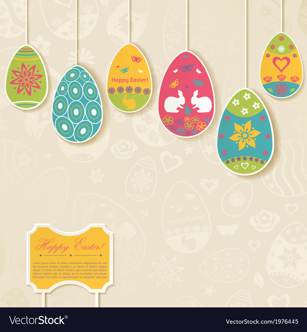 Easter background with eggs hanging on the ropes vector | Price: 1 Credit (USD $1)