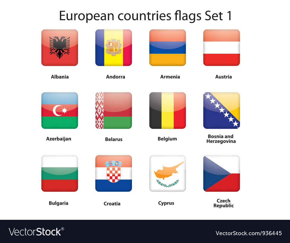 European countries flags set 1 vector | Price: 1 Credit (USD $1)