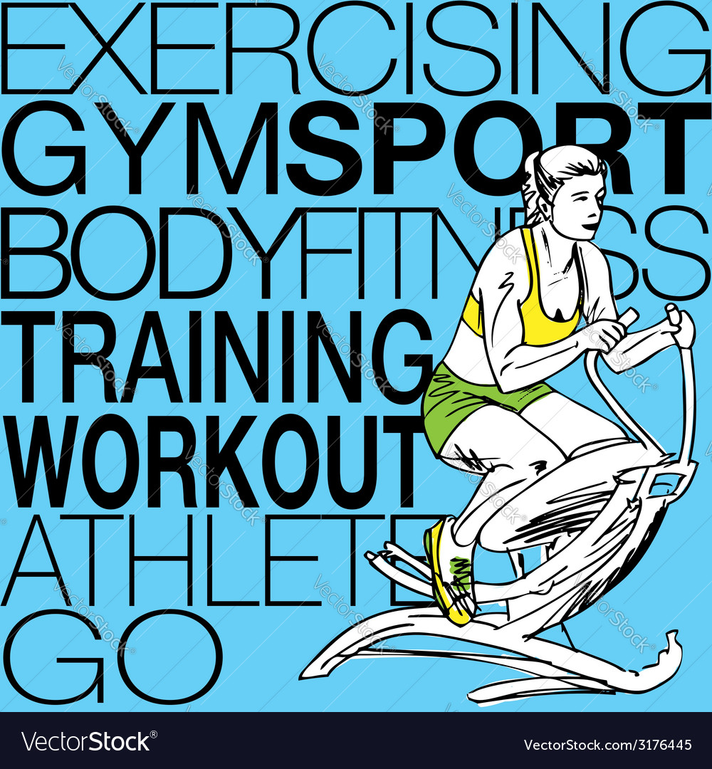 Fitness center young woman exercise vector   Price: 1 Credit (USD $1)