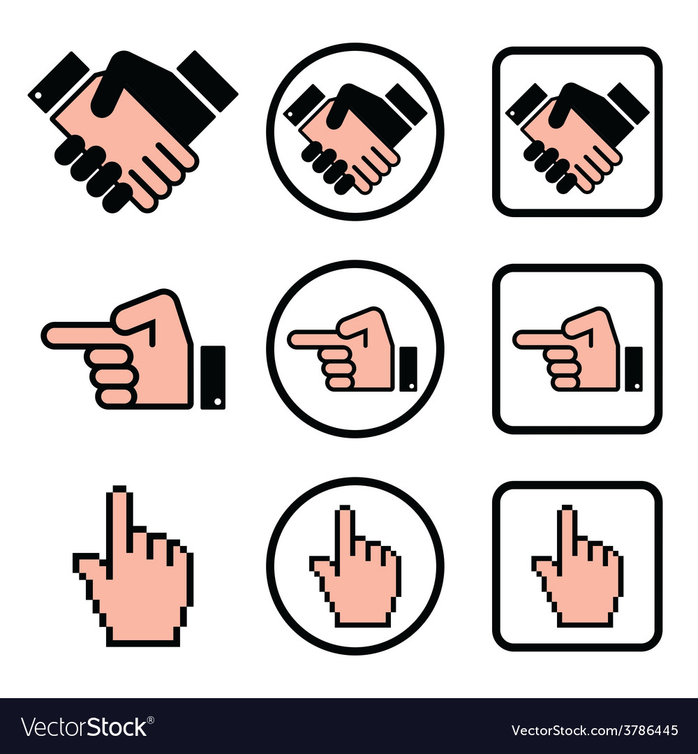 Handshake pointing hand cursor hand icons set vector | Price: 1 Credit (USD $1)