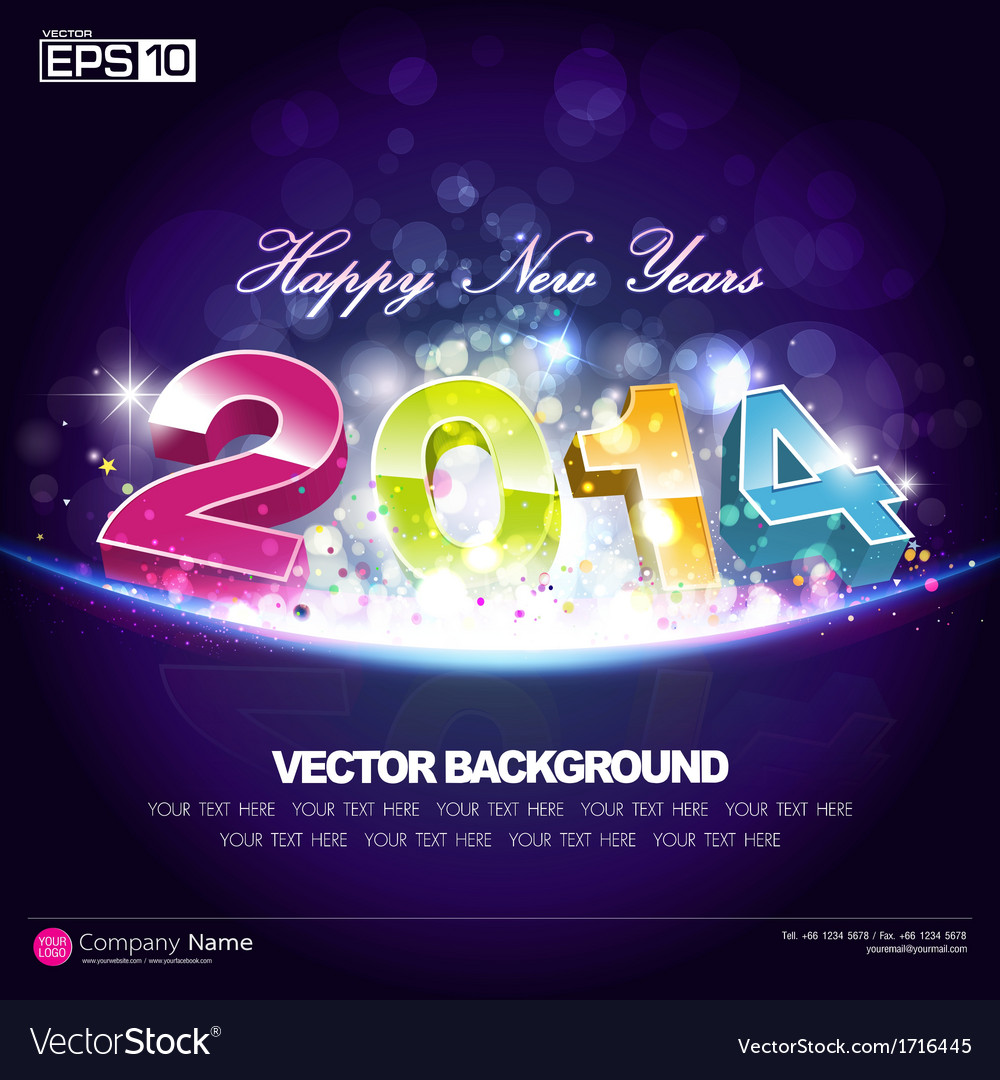 Happy new year 2014 background desing vector | Price: 1 Credit (USD $1)