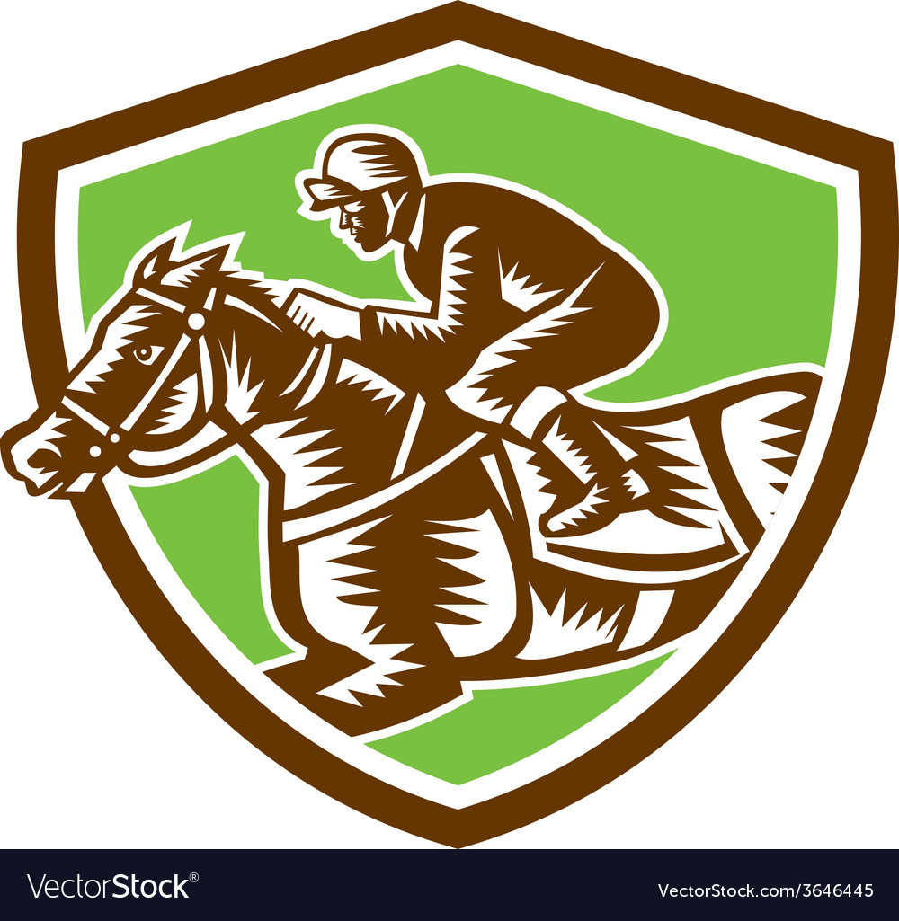 Jockey horse racing shield retro woodcut vector | Price: 1 Credit (USD $1)