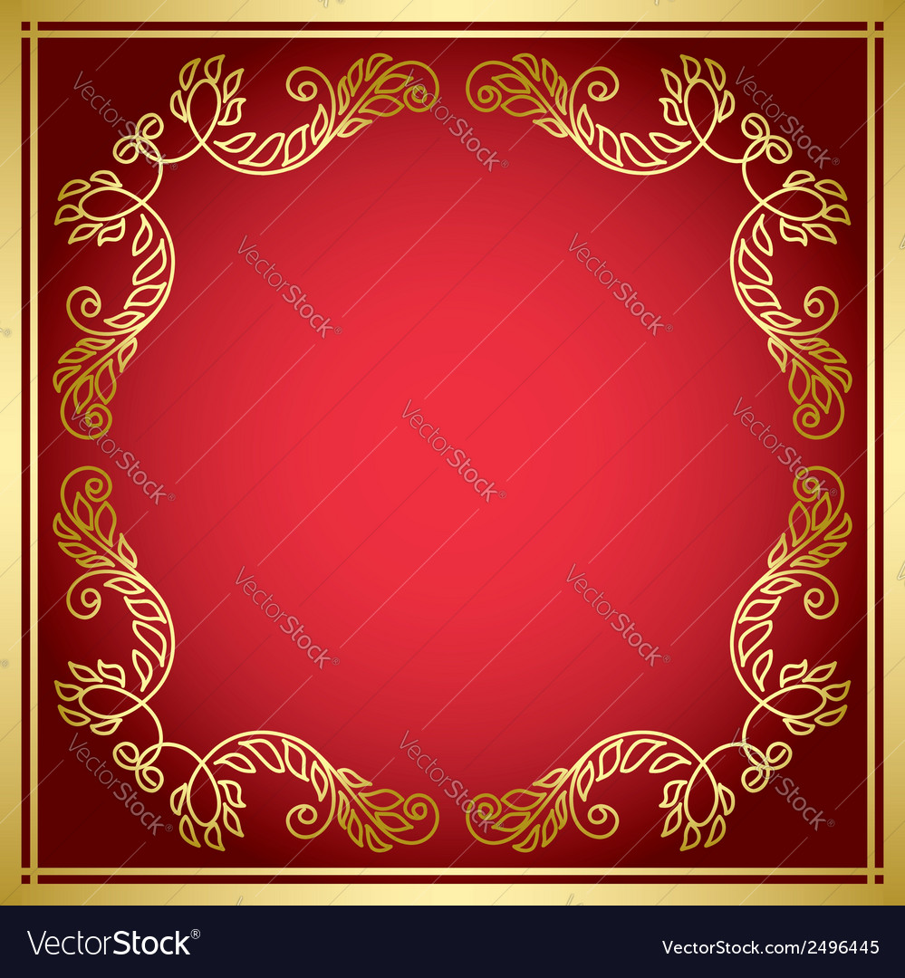 Red card with golden frame vector | Price: 1 Credit (USD $1)