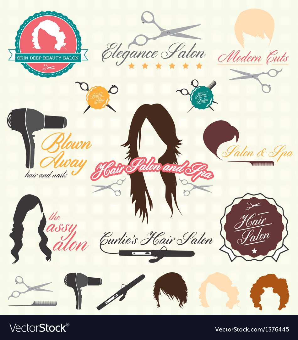 Retro style hair salon labels and icon vector | Price: 3 Credit (USD $3)