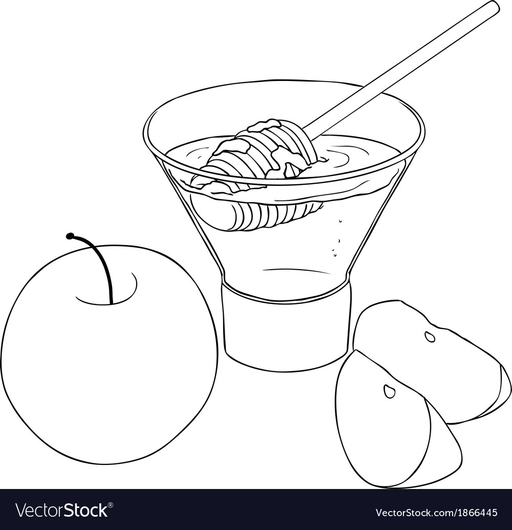 Rosh hashanah honey with apples coloring page vector | Price: 1 Credit (USD $1)