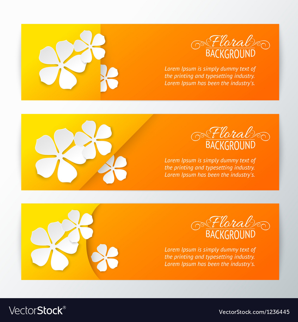 Set of three card with paper flower vector | Price: 1 Credit (USD $1)