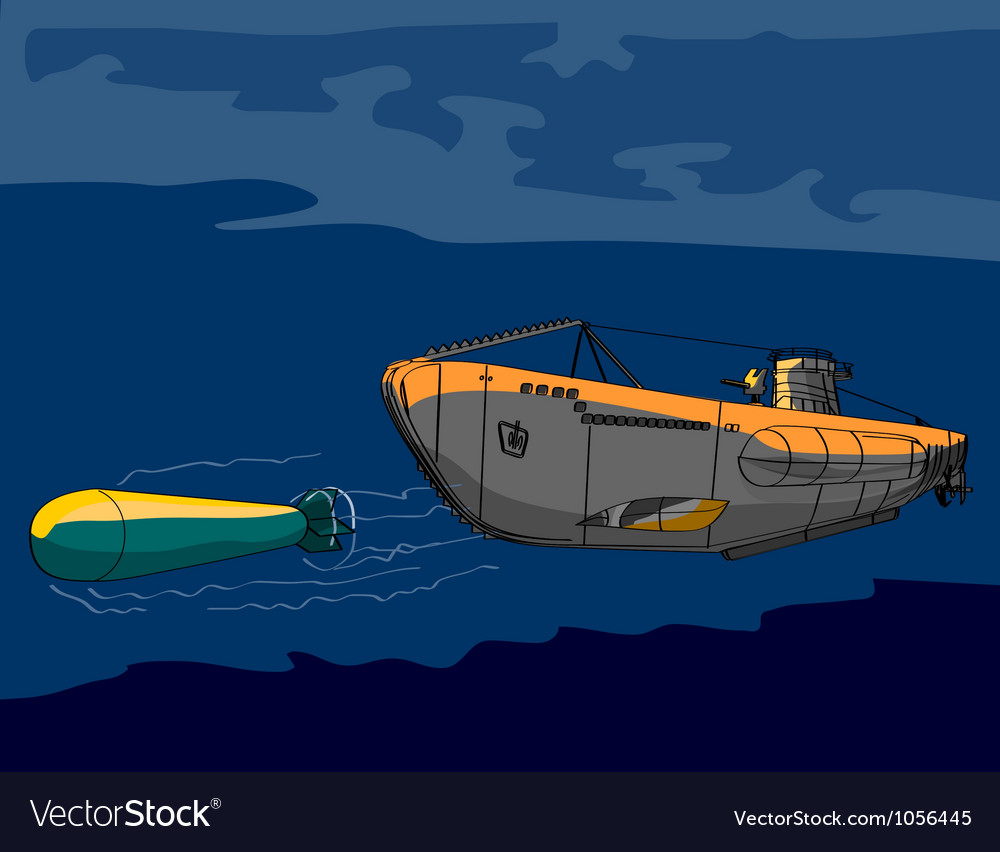 Submarine boat retro vector | Price: 1 Credit (USD $1)