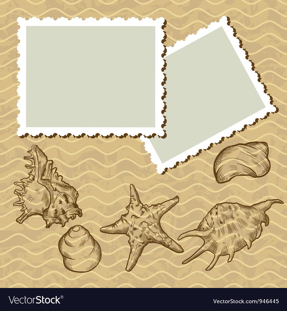 Vintage seashells postcard vector   Price: 1 Credit (USD $1)