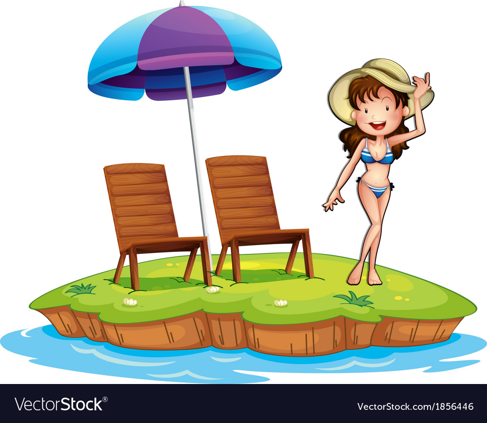 An island with a young girl swimming vector | Price: 3 Credit (USD $3)