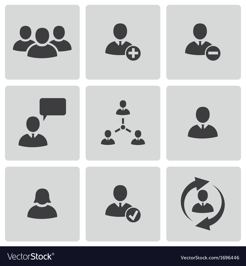 Black office people icons set vector | Price: 1 Credit (USD $1)