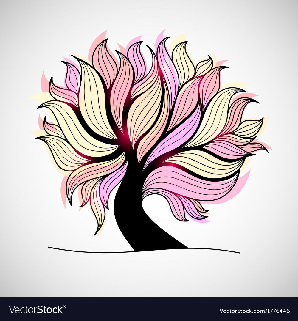 Bright colorful tree with branches and leaves vector | Price: 1 Credit (USD $1)