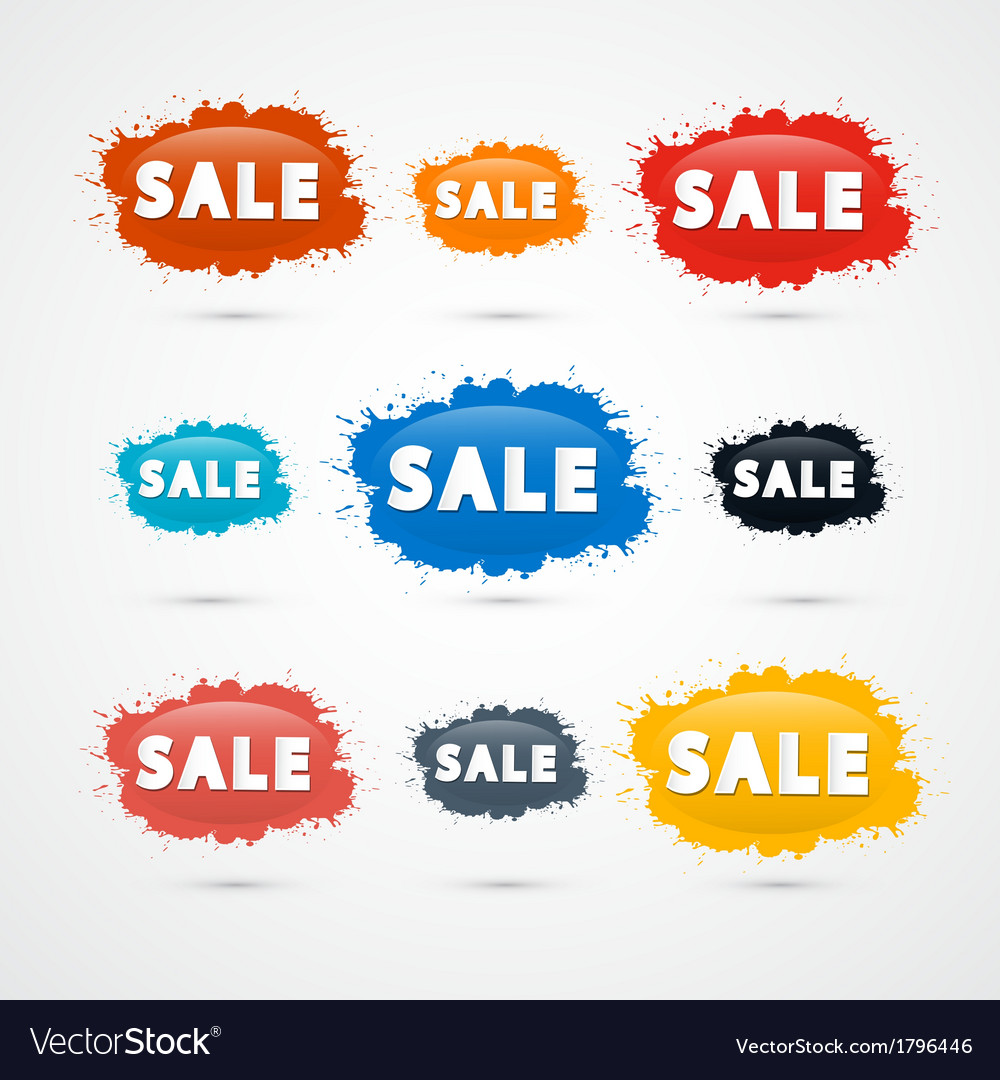 Colorful sale blots icons vector | Price: 1 Credit (USD $1)