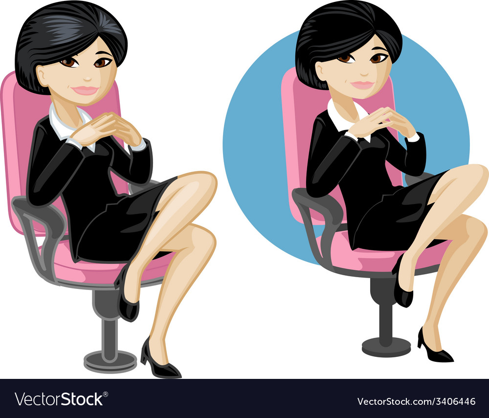 Cute young asian office woman on chair vector | Price: 3 Credit (USD $3)