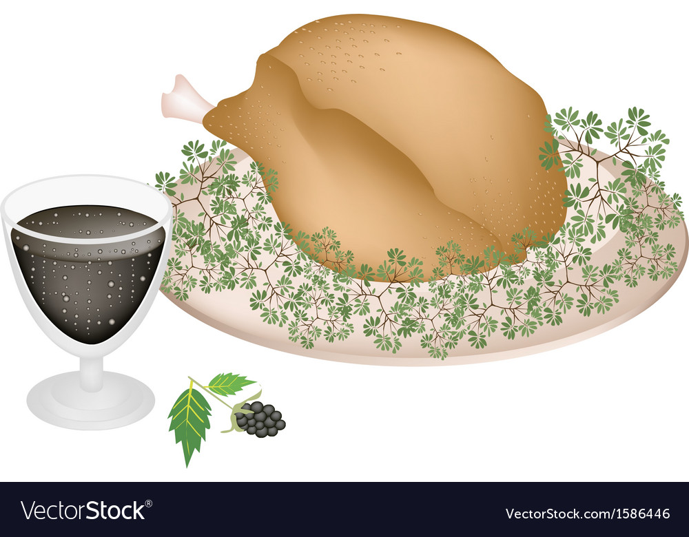 Delicious roast turkey and herbs with blackberry vector | Price: 1 Credit (USD $1)